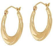 14K Gold 3/4 Textured & Polished Hoop Earrings - J324872