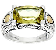 JAI Sterling & 14K Cushion Cut Green Gold Quartz Ring - J331572