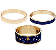 C. Wonder Set of 3 Celestial Print Enamel Slip-On Bangles - J332772