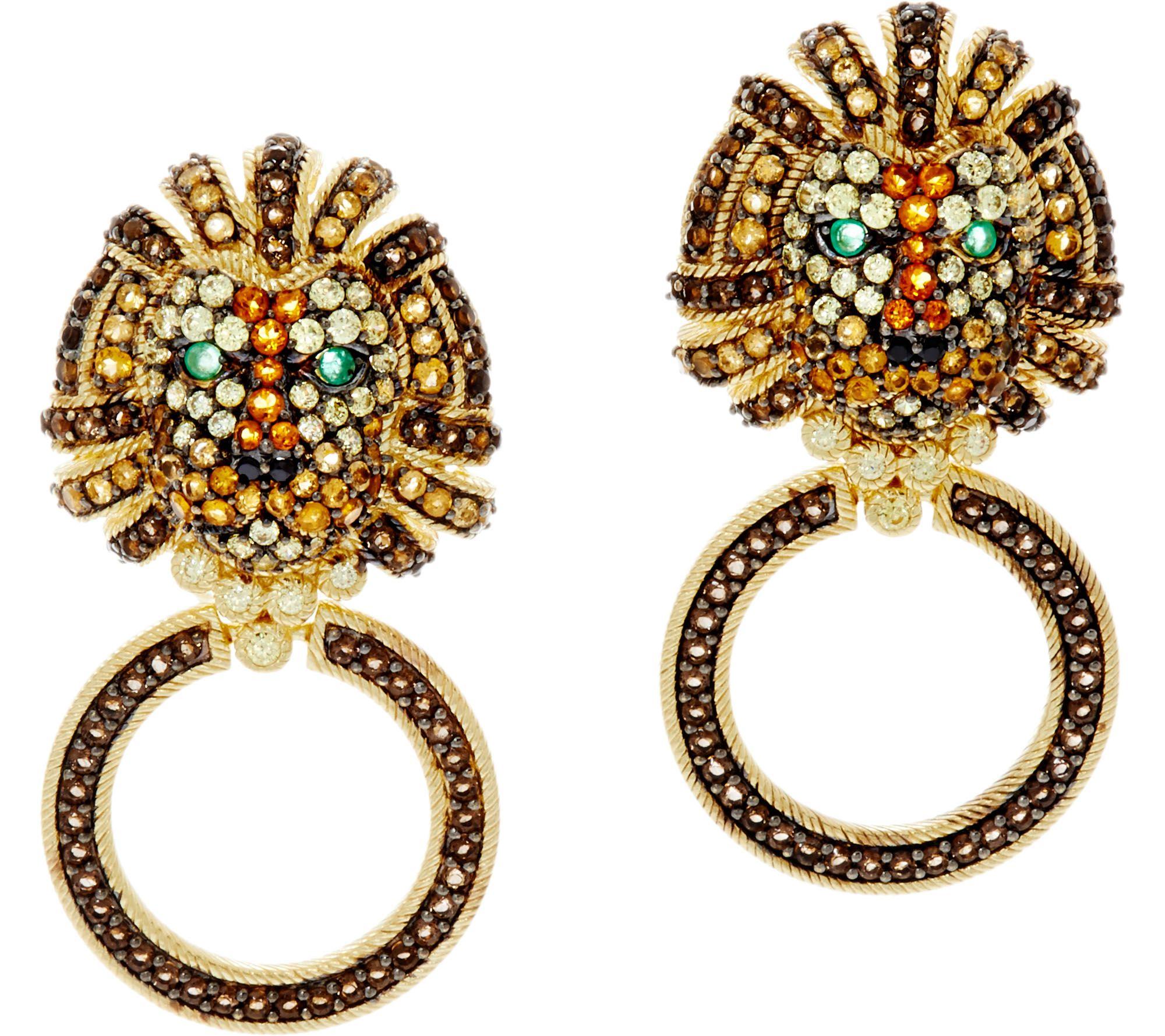 Judith Ripka Sterling & 14k Clad Gemstone Luke Lion Earrings  J334972