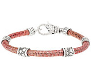As Is JAI Sterling Croco Texture Station Leather Bracelet - J346172