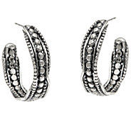 Sterling Silver Beaded Multi-texture Hoop Earrings by Or Paz - J346672
