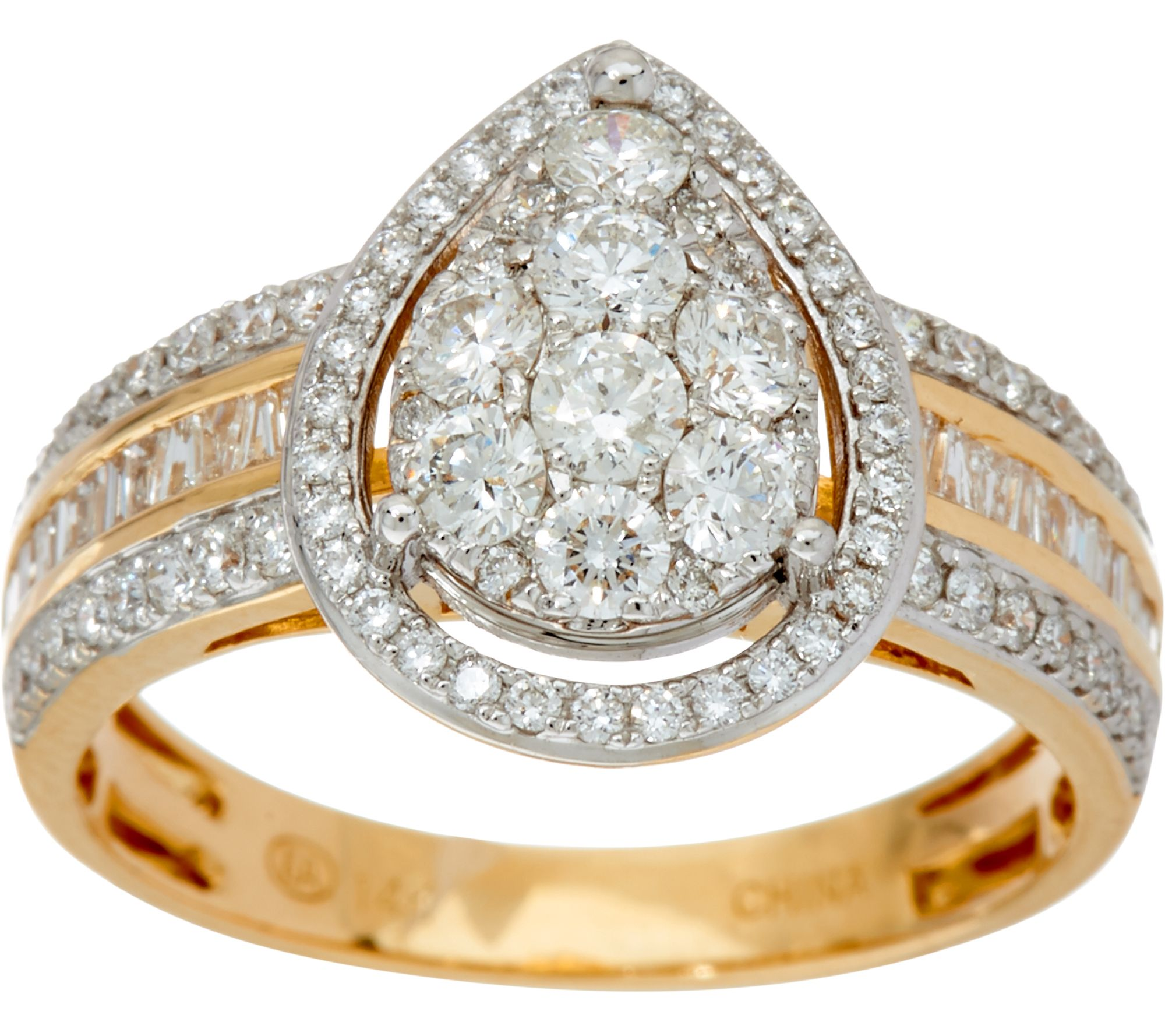 wedding gold t diamond set walmart engagement carat square cluster ring w rings yellow imperial shape com ip