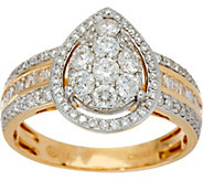 1.00 cttw Pear Cluster Diamond Ring 14K Gold, by Affinity - J347272
