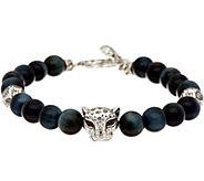 JAI Sterling Silver Leopard Head Bead & Gemstone Bracelet - J347672