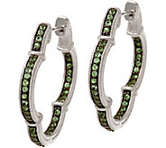 Judith Ripka Sterling Silver Gemstone Clover Hoop Earrings - J348172
