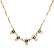 Judith Ripka 14K Gold London Blue Topaz & Diamond Necklace - J349972