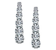 Diamonique 4.55 cttw Graduated Hoop Earrings, Platinum Clad - J377572