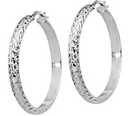 Italian Silver Medium Round & Textured Hoop Earrings, Sterling - J379672