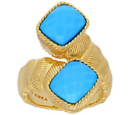Judith Ripka 14K Clad Turquoise Bypass Ring - J380272