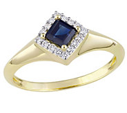 14K Gold Princess-Cut Sapphire & Diamond Halo Ring - J382472