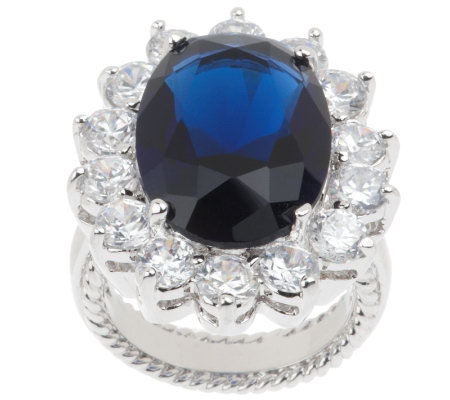 kenneth s princess simulated sapphire ring qvc