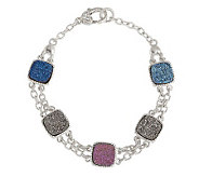 Judith Ripka Drusy Quartz Multi-Color Sterling Toggle Bracelet - J263373