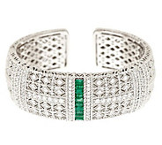 Judith Ripka Sterling 1.0 ct Emerald & Diamonique Pia Estate Cuff - J279473