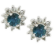 0.20 ct tw Montana Sapphire & Diamond Stud Earrings, 14K - J283373