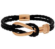 VicenzaSilver Sterling Status Link Station Braided Leather Bracelet - J286173