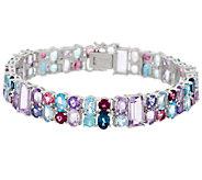 30.00 ct tw Multi-gemstone 7-1/2 Sterling Tennis Bracelet - J289073