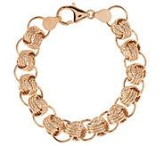 VicenzaGold 6-3/4 Textured Status Link Bracelet 14K Gold, 6.7g - J291173