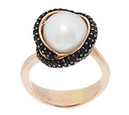 Honora Cultured Pearl 10.0mm & Gemstone Crossover Bronze Ring - J293973