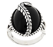 American West Onyx Leaf Design Sterling Ring - J294973