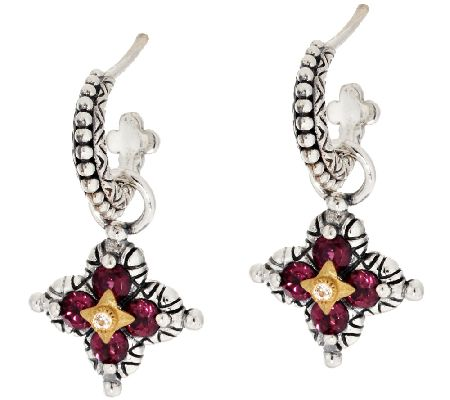 Barbara Bixby Sterling & 18K Flower Gemstone Charm Earrings