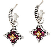 Barbara Bixby Sterling & 18K Flower Gemstone Hoop & Charm Earrings - J296673