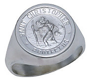 Sterling Silver St. Christopher Medal Ring - J303773