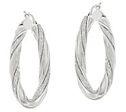 Vicenza Silver Sterling 1-1/2 Pave Glitter Twisted Oval Hoop Earrings - J317273