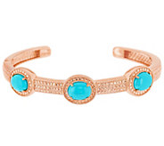 Sleeping Beauty Turquoise Avg. Sterling Diamond Cut Hinged Cuff - J317573
