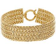 14K Gold 7-1/4 Polished Four Row Wheat Bracelet, 10.5g - J319973