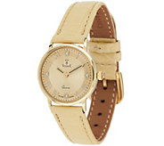 As Is Vicence Diamond Accent Round Dial Leather Strap Watch, 14K - J320673