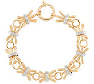 14K Gold 6-3/4 Textured & Polished Alternating Bracelet, 6.8g - J320873