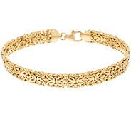 14K Gold 7-1/4 Domed Mirror Byzantine Bracelet, 5.6g - J323973