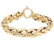 14K Gold 6-3/4 Polished Bold Woven Wheat Bracelet, 14.8g - J328273