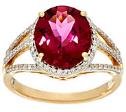 Oval Rubellite & Pave Diamond Bold Ring 14K Gold 4.20 cts - J329373