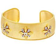 Genesi 18K Clad White Topaz Cuff Bracelet, 23.0g - J330573