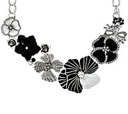 As Is Joan Rivers Charming Blooms Enamel & Pave Bib Necklace - J331173