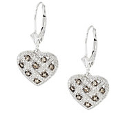 As Is Argyle Diamond 5/8cttw Leverback Heart Earrings Sterling - J332973