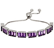 Baguette Amethyst & Zircon Sterling Adjustable Bracelet - J335573