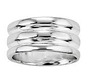 Sterling Silver 3-Row Solid Band Ring - J338873
