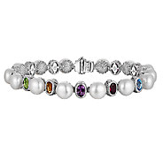 Judith Ripka Sterling Cultured Pearl & Multi-Gem 7 Bracelet - J340073