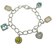 Judith Ripka Sterling 7-1/4 Multi-Gemstone Charm Bracelet - J340573