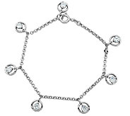 Diamonique Sterling 1.75cttw Dangle Charm Brace let - J340773