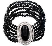 Judith Ripka Sterling Multi-Strand Black Onyx 6-3/4 Bracelet - J340873