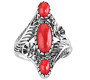 American West Sterling Red Coral Floral Elongated Ring - J341173