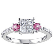 1/2 cttw Diamond & Pink Sapphire Ring, 14K Gold, by Affinity - J341573