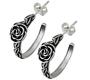 Sterling Round Rose Hoop Earrings by Or Paz - J341873