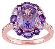 Sterling 3.75 cttw Amethyst & Rose de France Ring - J342173