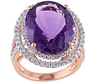 19.35 ct Amethyst and 9/10 cttw Diamond Ring, 14K Rose Gold - J342673