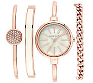 Anne Klein Womens Rose Gold Bangle Watch and Bracelet Set - J342973